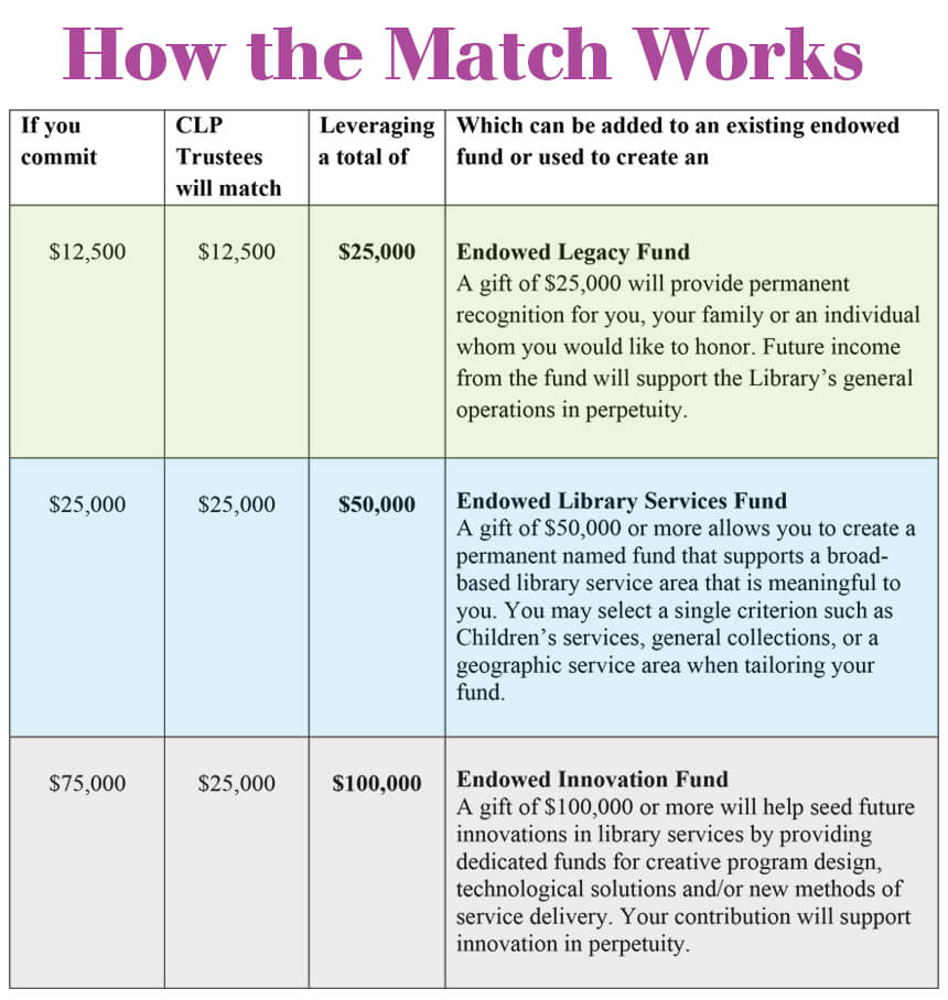 chart of various endowment match levels