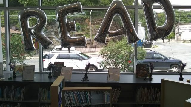 READ balloons to celebrate BLAST readers at CLP - Woods Run.