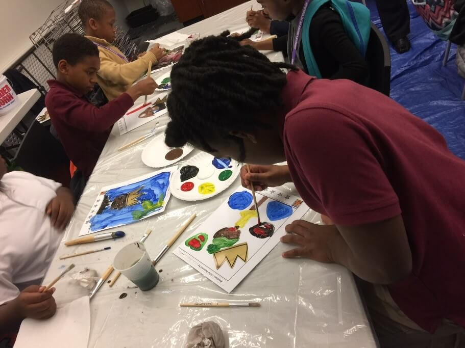 Students at CLP - Allegheny create art after reading the book, Radiant Child.