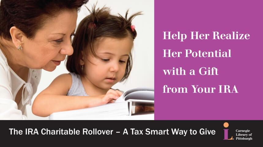 """Adult and child reading a book, with the words """"Help her realize her potential with a gift from your IRA"""""""