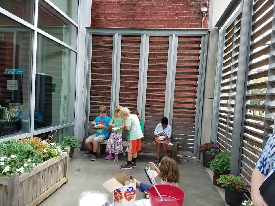 Children enjoy the outdoor space at CLP - Allegheny.