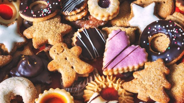 Close up of mixed Christmas cookies