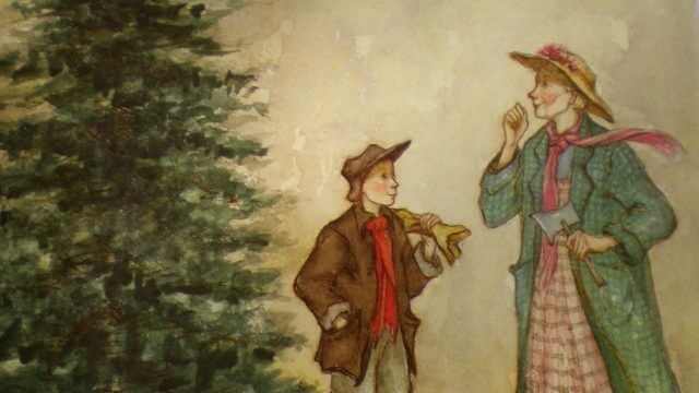 Cover of A Christmas Memory, shows Buddy and Sook with Queeny in front of a Christmas Tree.