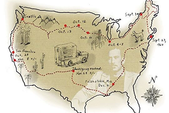 A sketched map of america with a red line showing Steinbeck's route, as well as sketches of his truck, his poodle Charley, and some of the scenery he encountered along the way.