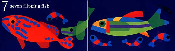 Two-page spread from Fish Eyes: A Book You Can Count On by Lois Ehlert depicting seven bright patterned fish swimming against a dark blue background.