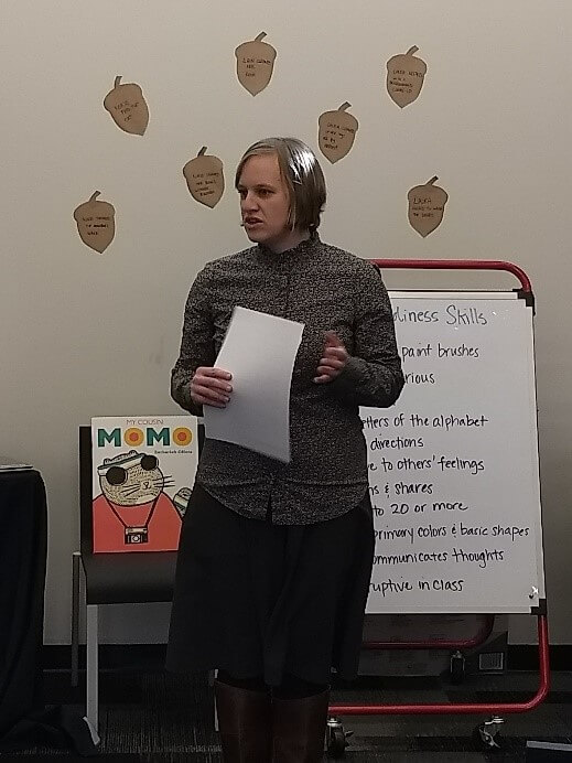 Early Learning BLAST Outreach Specialist Laura highlights early literacy during a workshop.