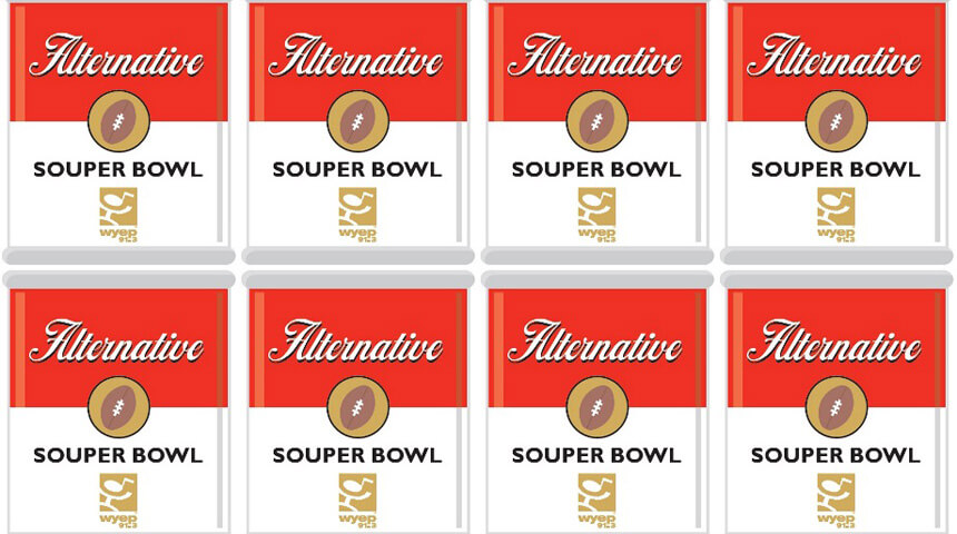 Rows of red and white Alternative Souper Bowl soup cans