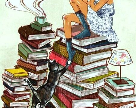 A woman reads a book while sitting on a stack of books with a cat at her feet, and a cup of coffee to her right