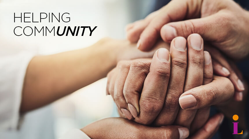 """Several pairs of hands clasped together positioned below test """"Helping Community"""" with an emphasis on """"Unity."""""""