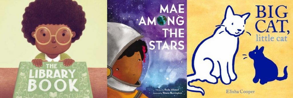 Book covers for The Library Book, Mae Among the Stars, and Big Cat, Little Cat