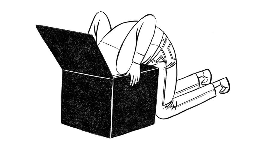 Illustration of a person with their head in a box searching for something