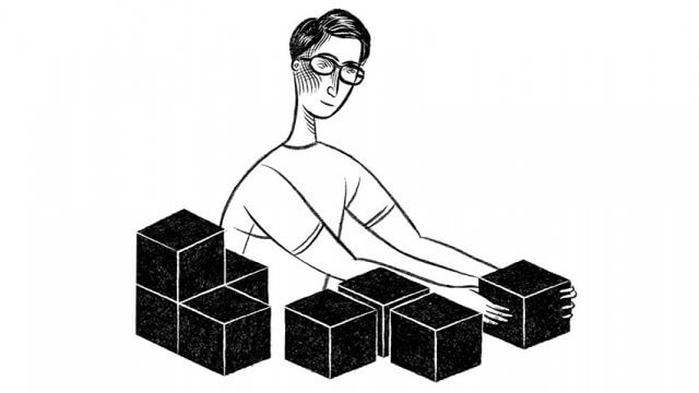 Illustration of a main wearing glasses arranging a collection of boxes.