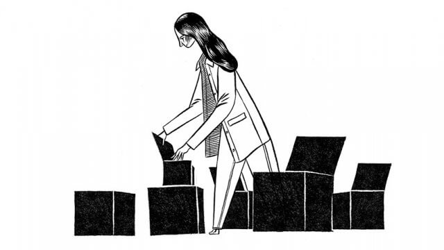 Illustration of a woman opening a collection of boxes
