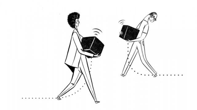 Illustration of two people carrying boxes.