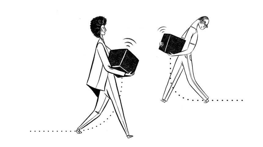 Illustration of two people carrying boxes
