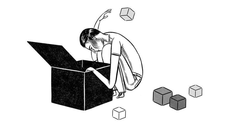 Illustration of a man sorting through a large box, with small boxes gathering around him