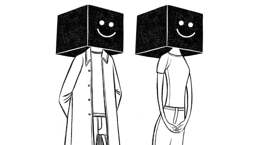 Illustration of two people with smiley face boxes on their heads