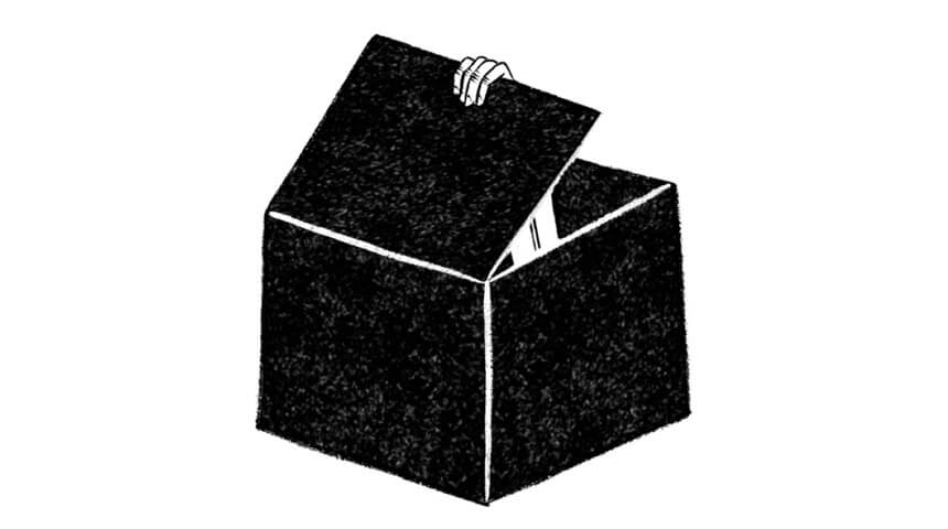 Illustration of a black box being opened from the inside by a white hand.