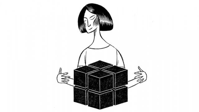 Illustration of a woman standing behind a set of neatly stacked cubes