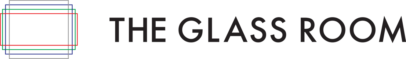logo for The Glass Room Digital Privacy project. A stylized box sits next to the text THE GLASS ROOM against a white background.