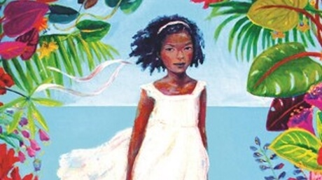 Girl in a white dress surrounded by foliage and flowers; detail from the cover of Hurricane Child