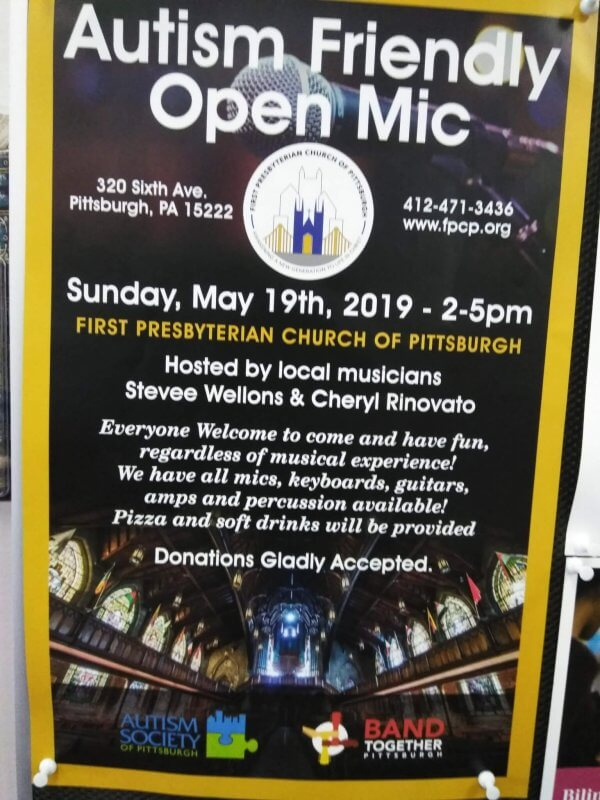 Flyer for Autism Friendly Open Mic Event