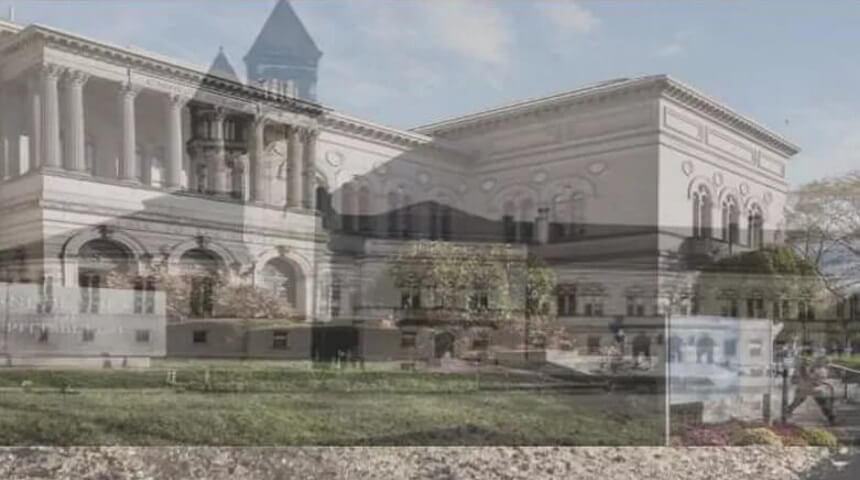 Photo of the current exterior of CLP-Main in Oakland superimposed over the original exterior from 1895.