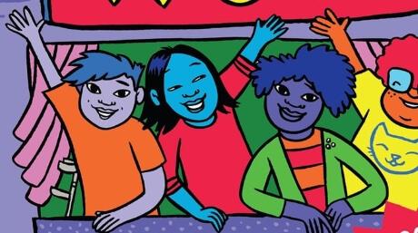 Group of colorful, cartoon-ish kids waving