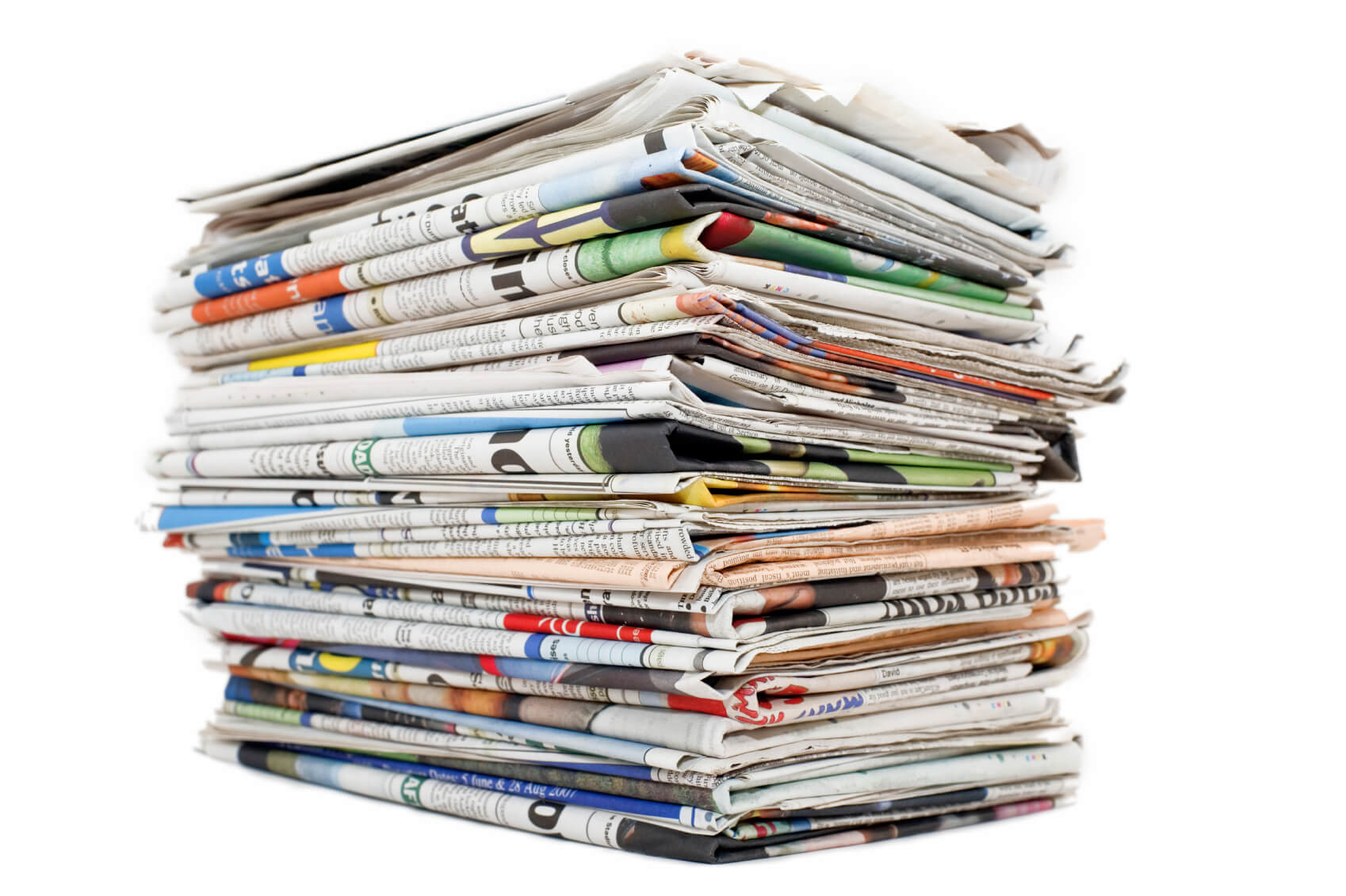 A colorful stack of newspapers