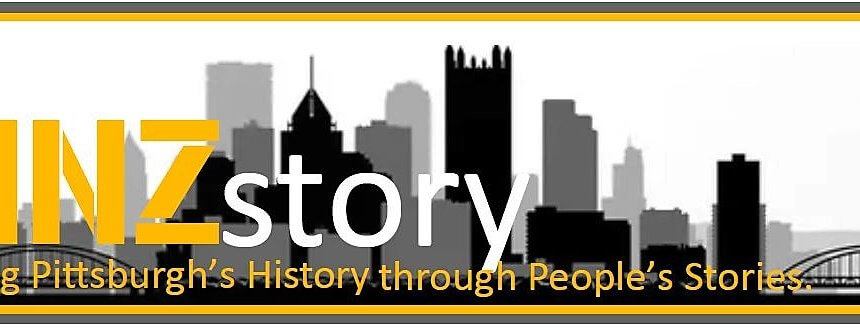 """Logo for YINZ story featuring the downtown Pittsburgh skyline and reading """"Sharing Pittsburgh's History through people's stories."""""""
