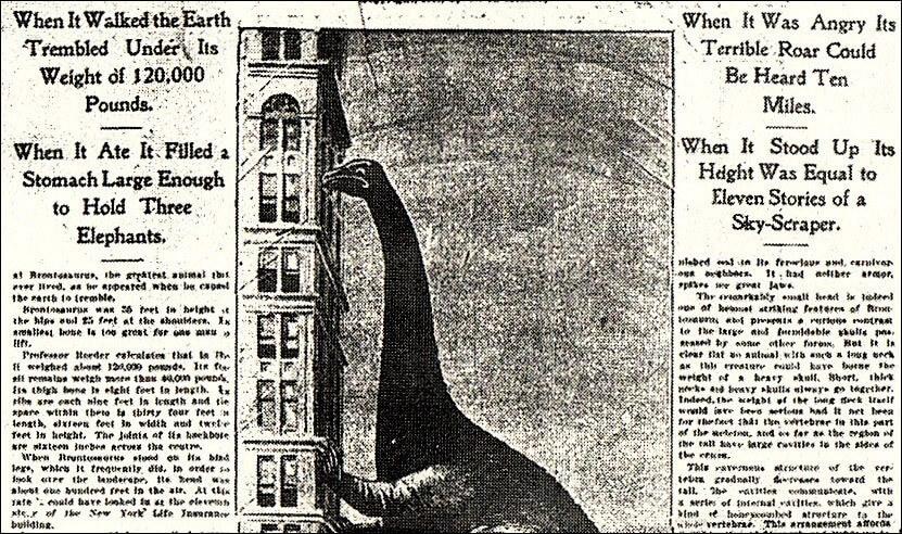 Newspaper image showing dinosaur peering into skyscraper window