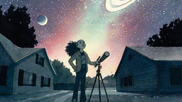 Book cover of a young girl standing with a telescope, looking up at the stars and plants and night