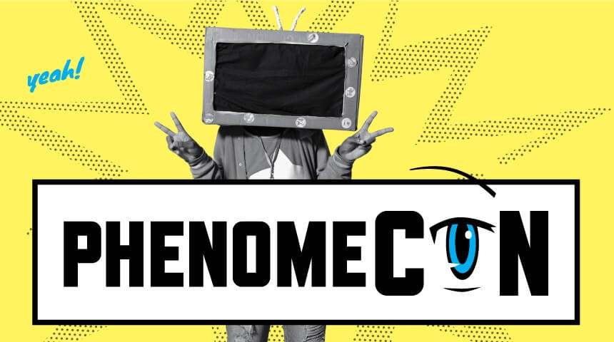 Teen in a TV costume stands behind the PhenomeCon logo