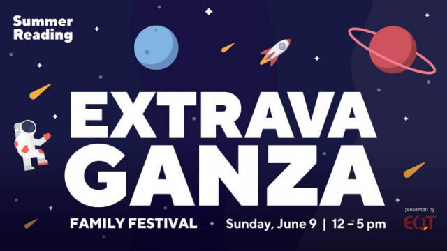 Stars, planets, and an astronaut against a dark blue background with text: Summer Reading Extravaganza Sunday, June 9 2019, 12-5 pm.