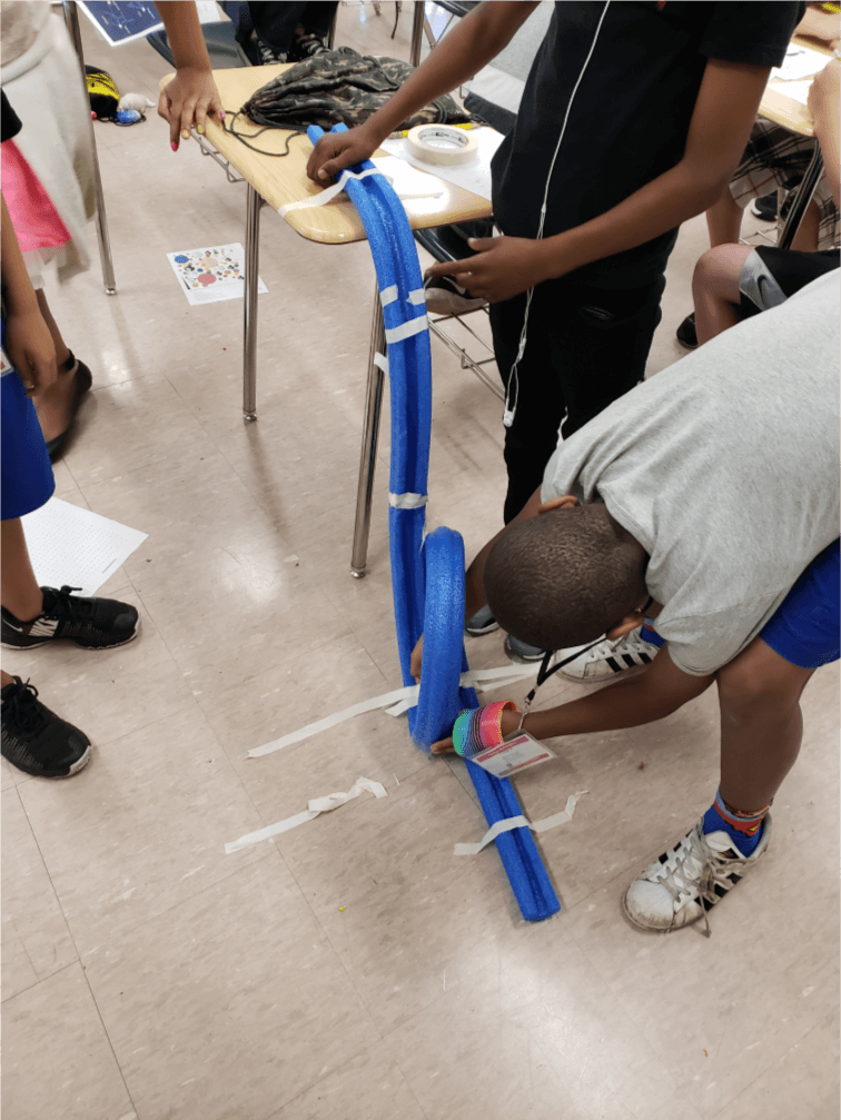Fourth graders build a roller coaster during last year's Summer Dreamers Academy.