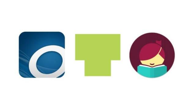 Overdrive logo, CLP Teen logo, Libby logo.