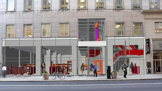 Architectural rendering of the proposed facade and entrance for the future renovation of CLP-Downtown