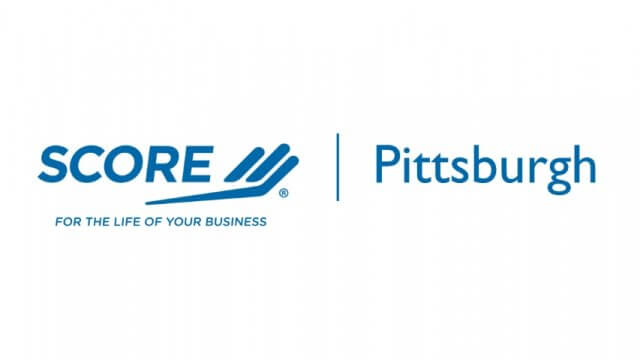 """Logo for SCORE positioned left of text reading """"Pittsburgh."""""""