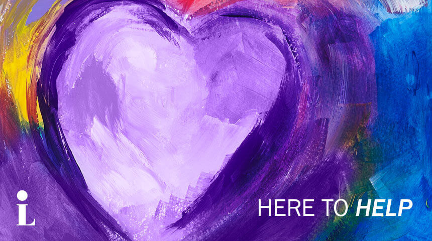"Acrylic style panting of purple heart positioned above text ""Here to Help."""