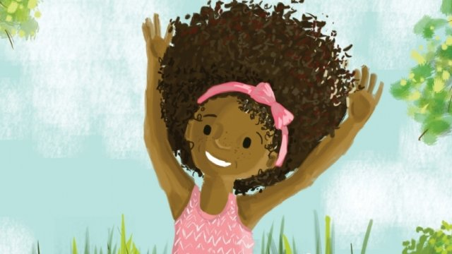 book cover of A young Black girl stands in front of flowers and trees with her hands up in the air