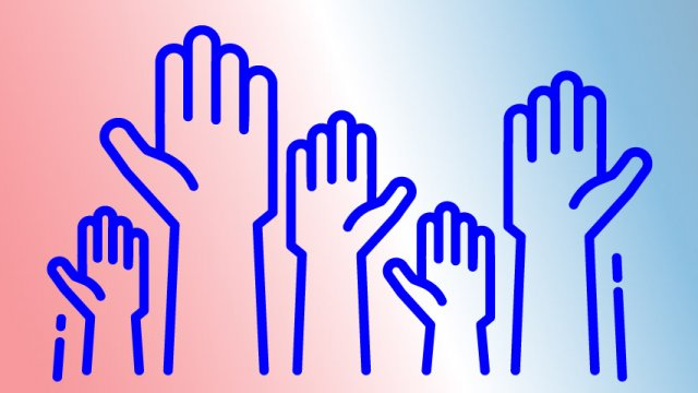 Graphic of raised hands.