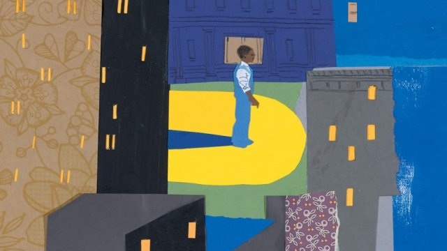 book cover of A young black man stands in the middle of several buildings at night