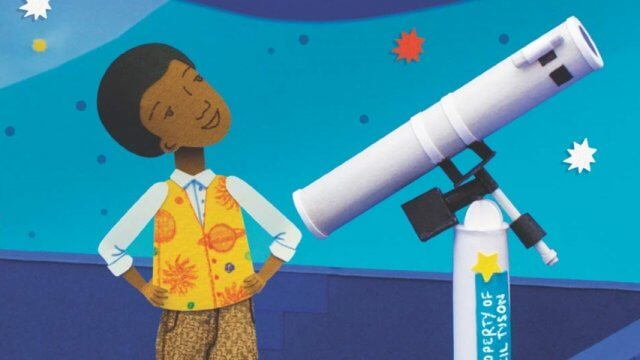 book cover of a Young black man looks up at the sky with a telescope in front of him