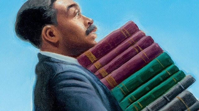 Book cover of A black man carries a large stack of books