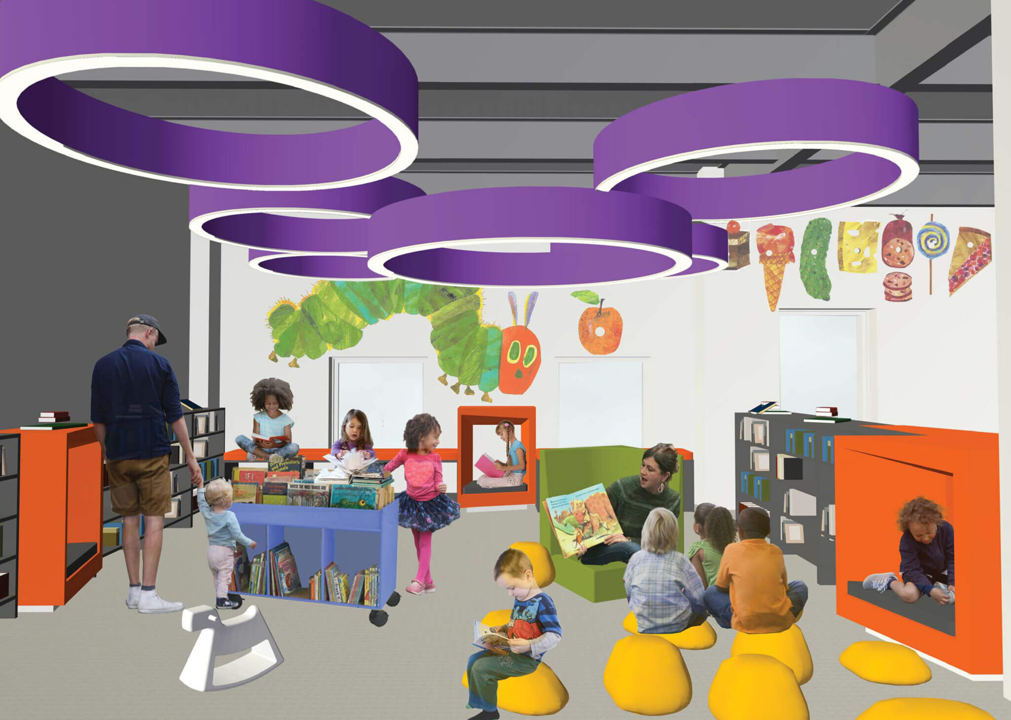 Computer rendering of children's space of 2020 CLP-Downton branch renovation project