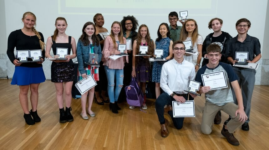 2019 Teen Media Award winners pose with their trophies after the ceremony