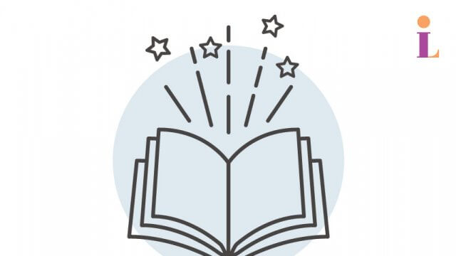 A graphic of an open book with stars.