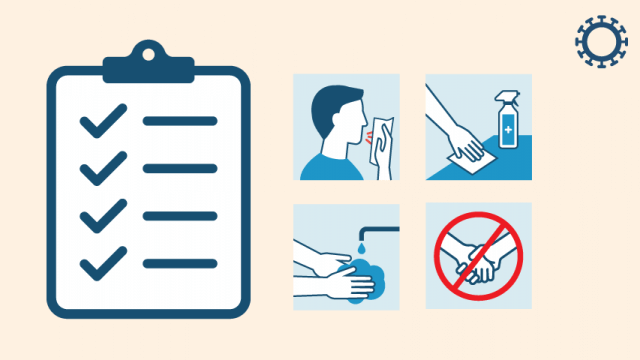 a graphic listing several tools for maintaining good hygiene, including using tissues and covering mouths when sneezing/coughing, wiping down surfaces, washing hands, and avoiding physical contact with others.