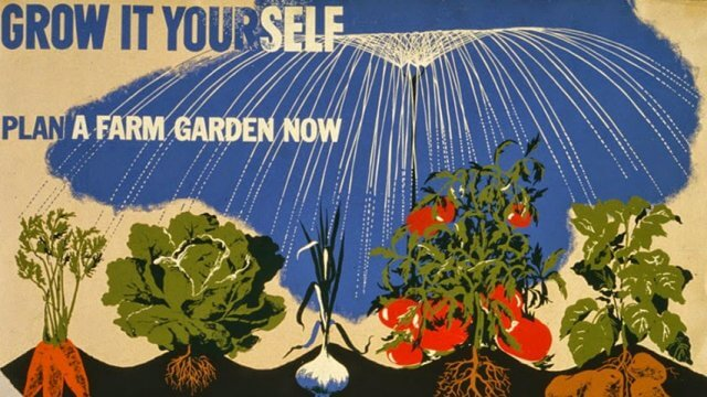 """Vintage illustration of garden vegetables being watered with text """"Grow it yourself. Plan a farm garden now."""""""