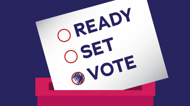 "Graphic of a ballot box with a card saying ""Ready, set, vote"" going into it. The bubble next to ""vote"" is filled in."